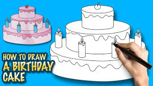Simple Birthday Cake Drawing How To Draw A Birthday Cake Easy Step By Step Drawing Lessons