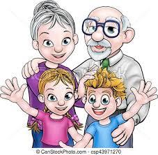 Grandparents and children Family scene of children and vectors