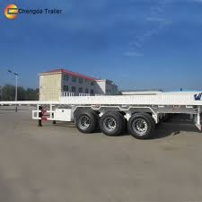 2axles Tri Axles 20ft 40 Ton Flat Bed Shipping Container Flatbed ...