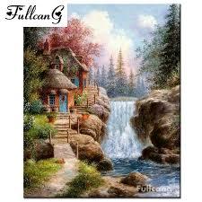 100 Water Fall House US 486 38 OFFFULLCANG Full Square Mosaic Waterfall House 5d Diamond Painting Rhinestone Cross Stitch Scenery Diamond Embroidery Painting F111in