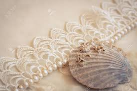Lace Pearls And Seashell Vintage Background Stock Photo
