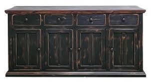 Rustic 4 Door Brown Black Buffet Cabinet Western Dining Room Solid Wood