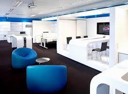 modern blue white office interior furniture set on laminate