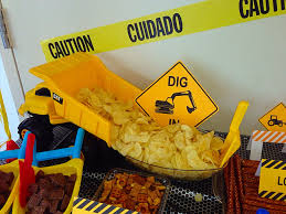 Construction Theme Party. Dump Truck Dumping Potato Chips With