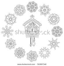 Christmas Coloring Page Old Antique Wall Clock With Cuckoo Bird Singing And Vintage Winter Snowflakes