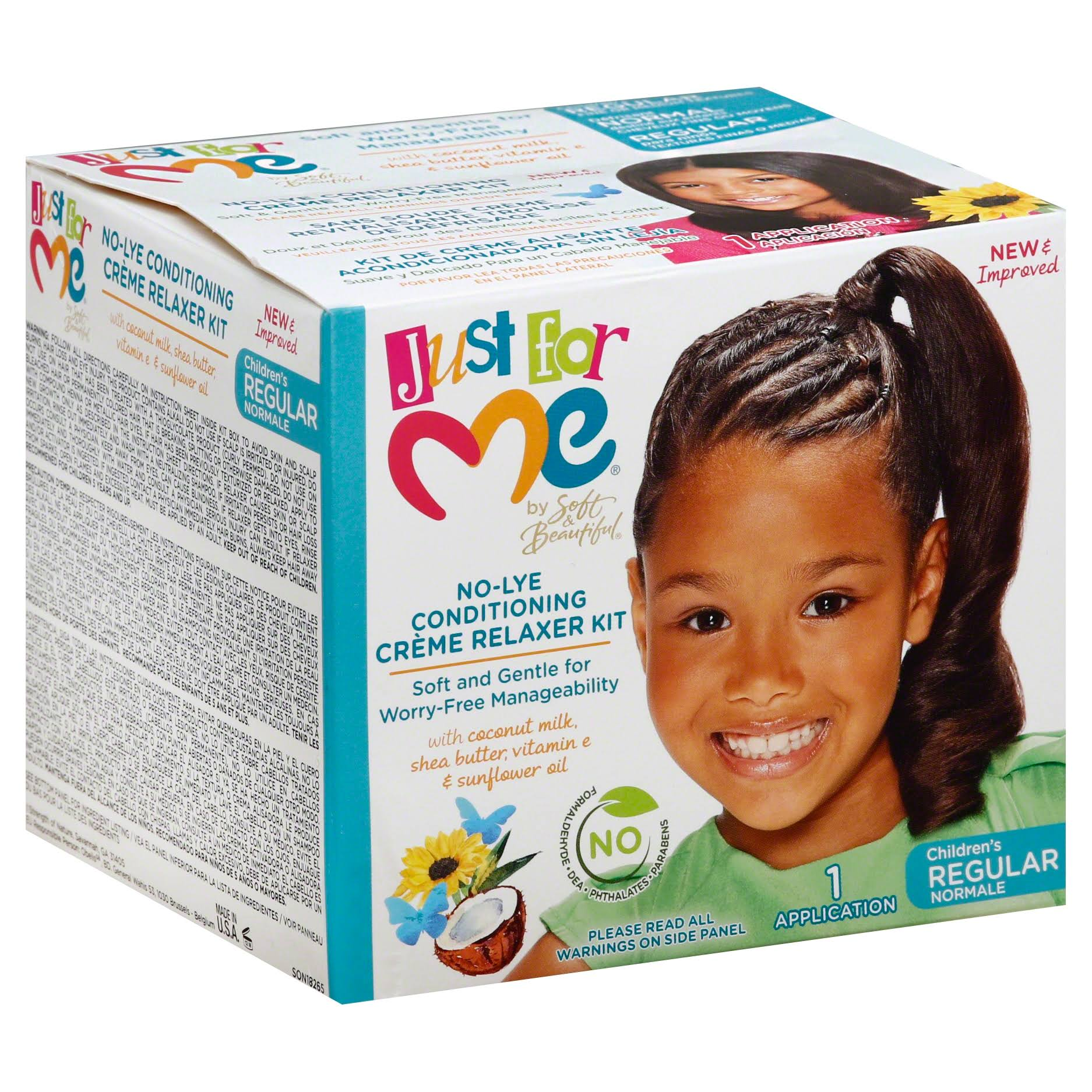 Just for Me Children's Regular No-Lye Conditioning Creme Relaxer Kit