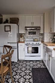 Kitchen Remodel Retro Appliances Floor Tile Patterns White Cabinets Beveled Subway Patterned Wall Tiles Vintage Blue