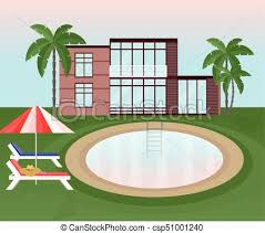 Swimming Pool Background With Sunbeds And Umbrella Vector