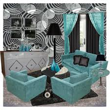 Brown And Teal Living Room Curtains by Blue Black White Living Room Polyvore Inside Teal And Black