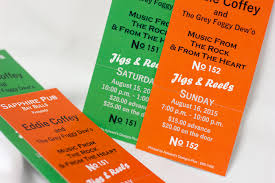 Music Dance Tickets Designed Printed BW On Colour Paper Perforated