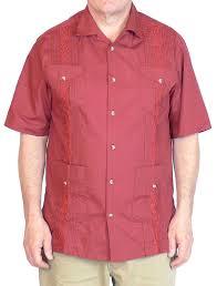 squish 100 cotton cuban style guayabera shirt red large at