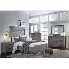 Gray Rustic Contemporary 6 Piece King Bedroom Set Austin