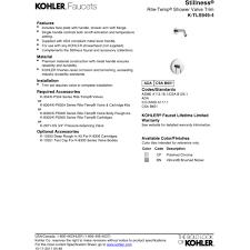 Kohler Stillness Faucet Wall Mount by Kohler K Tls949 4 Cp Stillness Polished Chrome One Handle Shower