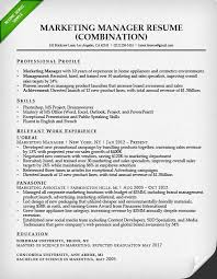 Marketing Manager Combination Resume Sample