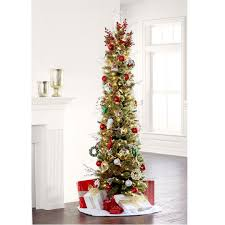 9 Ft Flocked Pencil Christmas Tree by 7 Ft Pre Lit Green Pencil Cashmere Artificial Christmas Tree