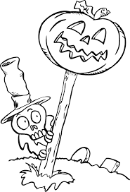 Skeleton Pumpkin Coloring Pages Printable For Halloween