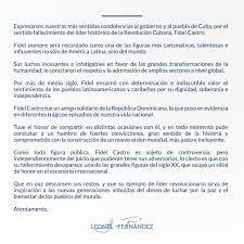 Leonel Fernández Carta De Condolencias Al Gobierno Y Pueblo