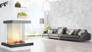 schöne moderne wohnzimmer innenraum mit kamin 3d rendering