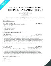 Entry Level Information Technology Resume Examples Samples Curriculum Vitae