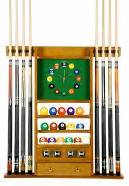 8 Cue Pool Rack With Clock Oak Finish