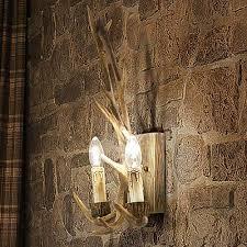 Deer Antler Wallpaper Wall Light Design Country House Rustic Beige Brown Wood Resin Lamp