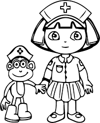 Baby Dora Injection Learning Coloring Page