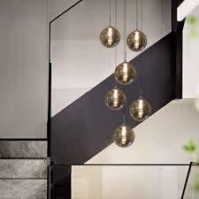 zmh led pendelleuchte pendelleuchte esstisch pendelle höhenverstellbar kronleuchter hängeleuchte 6 flammig aus glas in farbe grau küchen