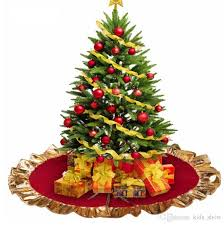 2018 Lovely Red Christmas Tree Skirt Golden Edge Reindeer And Snowflakes 80cm 315in Cover Base Decoration Xmas Decor From Kids Show