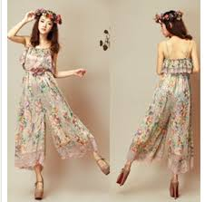Summer Girls Loose Print Jumpsuits Fashion High Quality Chiffon Bohemian Style Flowers Womans Clothing