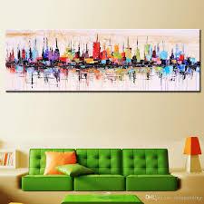 großhandel mode modern dekorative wohnzimmer handgemaltes ölgemälde großes leinwand bild mirage stadtlandschaft abstract mur dorapainting