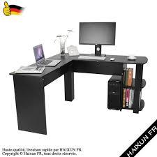 bureau informatique angle l forme bureau d ordinateur d angle avec étagères de livre table d