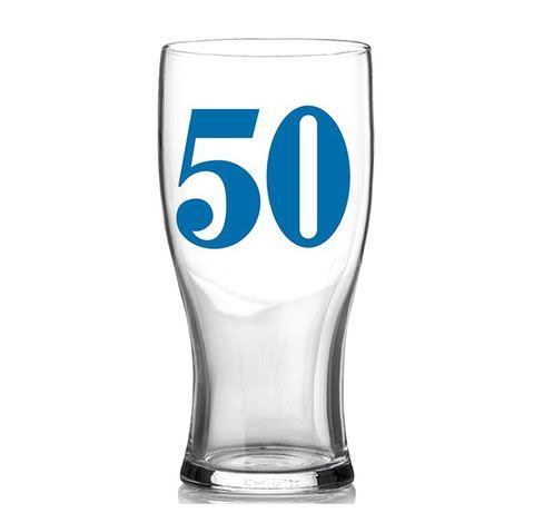 Hula Birthday Pint Glass Blue 50 in Gift Box