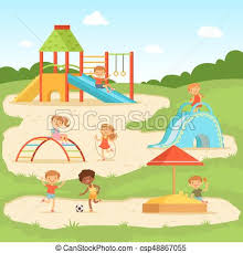 Funny Children At Summer Playground Kids Playing In Park Vector Illustration