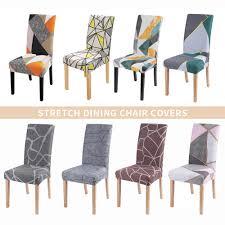 1 2 4 6 stücke geometrische drucken stuhl abdeckung esszimmer stuhl abdeckungen spandex stretch hussen protector anti staub home hotel