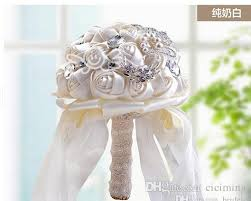 Cheap Silk Wedding Bouquets Wholesale Bridal Artificial Flowers Ivory White Rustic