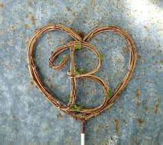 Rustic Wedding Cake Topper 6 Heart With Letter