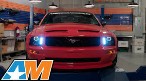 2005 2009 mustang black projector headlights led halo review