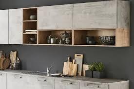 kücheninsel in beton natürliches holz nolte kuechen