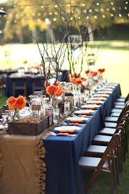 Burlap And Navy Blue Peach Wedding Table Decorations For Your Rustic