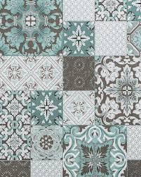 küchen bad tapete edem 87001br15 vinyltapete leicht strukturiert mit kachelmuster und metallischen akzenten türkis grau beige weiß silber 5 33 m2