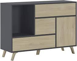 comfort esszimmer sideboard zusatzmöbel buffet wind 1 tür 3 schubladen strukturfarbe anthrazitgrau und türfarbe und puccini schubladen maße