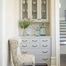 Dining Room With Gray Built In China Cabinet And Sideboard