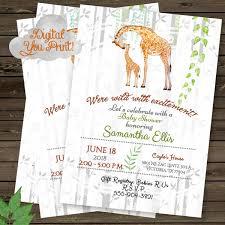 Giraffe Baby Shower Invitation Rustic Baby Shower Jungle Baby