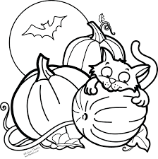 Free Coloring Pages Halloween Pumpkins Pictures Of Bats Cats Full Size