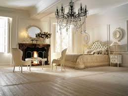 Modern Bedroom With Fireplace Vintage Furniture And Large Chandelier In Style