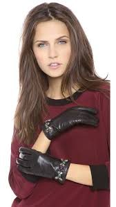 juicy couture glamour leather gloves in black lyst