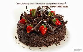 Amazing Chocolate Birthday Cake with real strawberries Excellent Happy Birthday Card