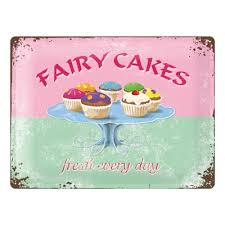Blechschild Fairy Cakes Cupcakes 50er Jahre Party Deko American Diner Motto Nostalgic Art