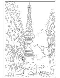 Eiffel Tower Adult Coloring Page Paris France