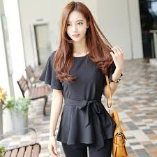 Korean Stylish Ladies Daily Wear Tops Women Semi Formal Tunic Blouses